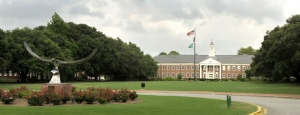 Panoramic photos of Hoggard Hall, Soaring Seahawk sculpture for campus beauty and new web design. - UNCW/Jamie Moncrief